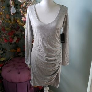 Side Ruched Grey Dress